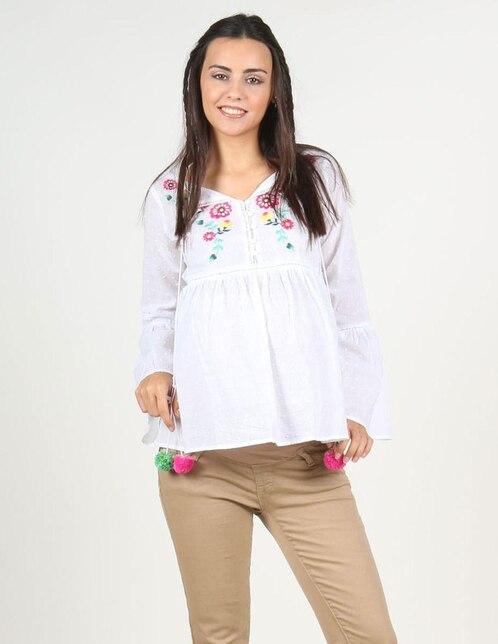 c0867ada7 Blusa Oh Ma! blanca con diseño swiss dot de maternidad