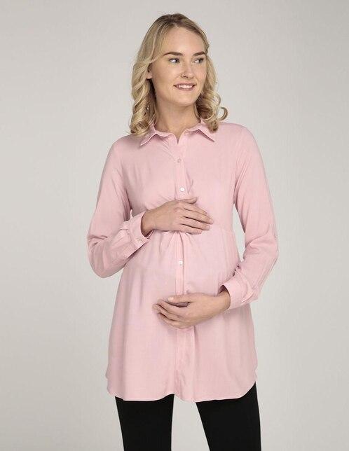 35a3623e6 Blusa de maternidad One to Nine rosa cuello camisero