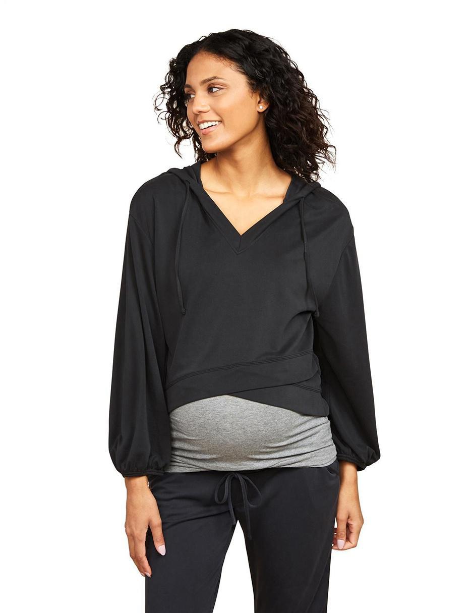 bde1e4556 Blusa de maternidad Motherhood gris con capucha