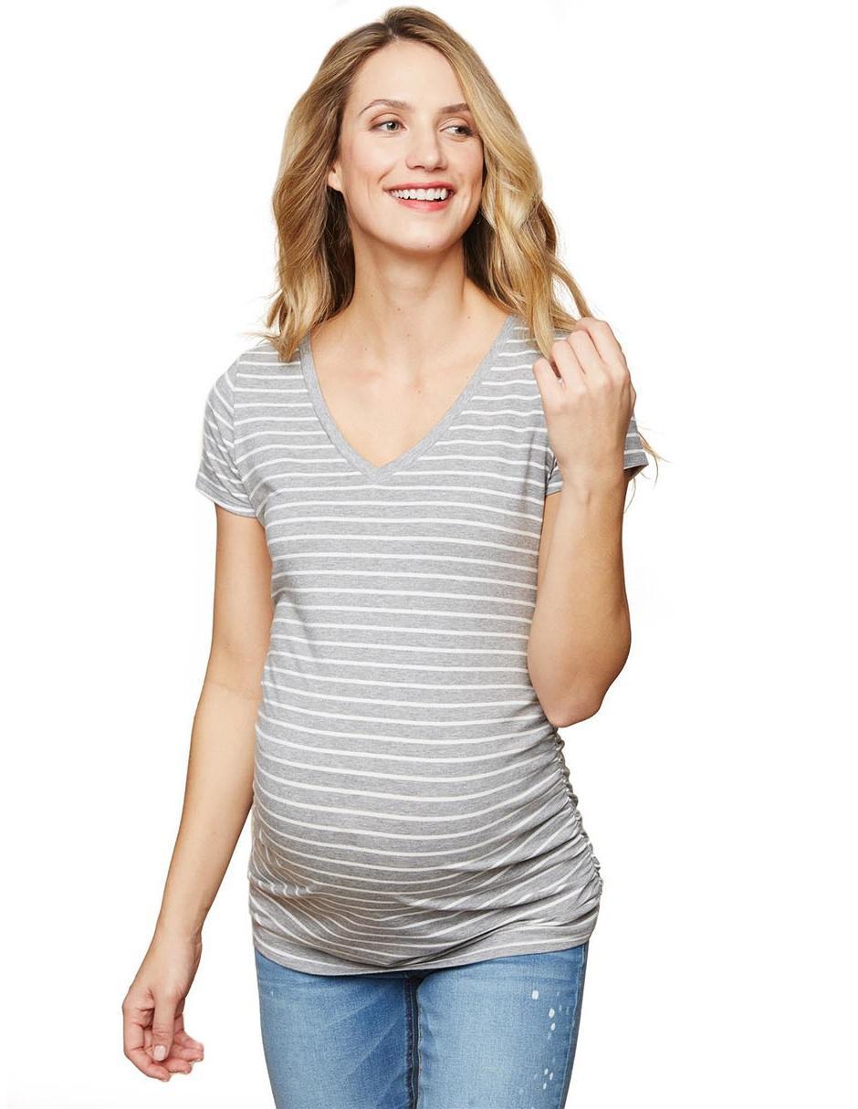 8d94dcb31 Blusa de maternidad Motherhood gris a rayas