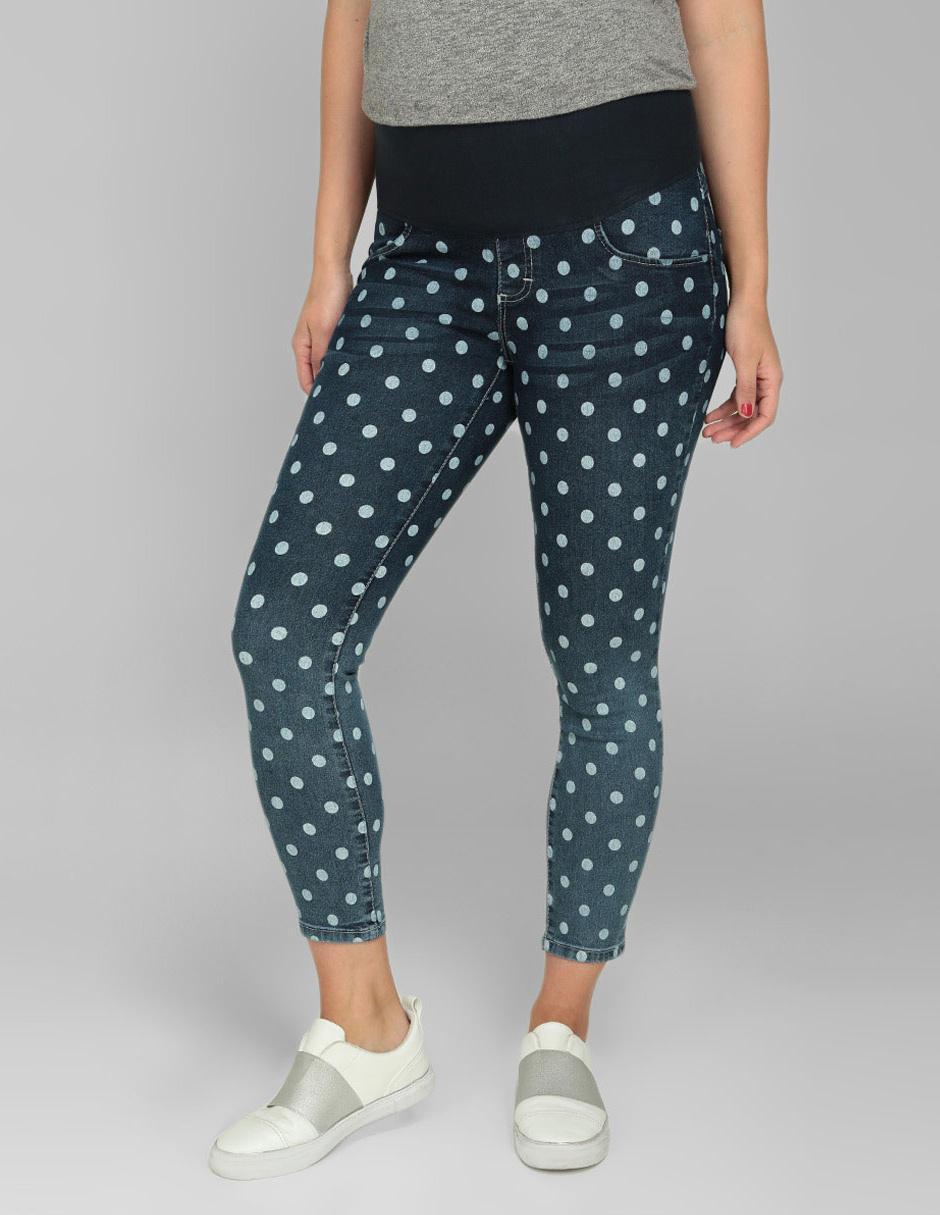 62a1f33d1 Jeans de maternidad One to Nine corte skinny azul a lunares Precio ...