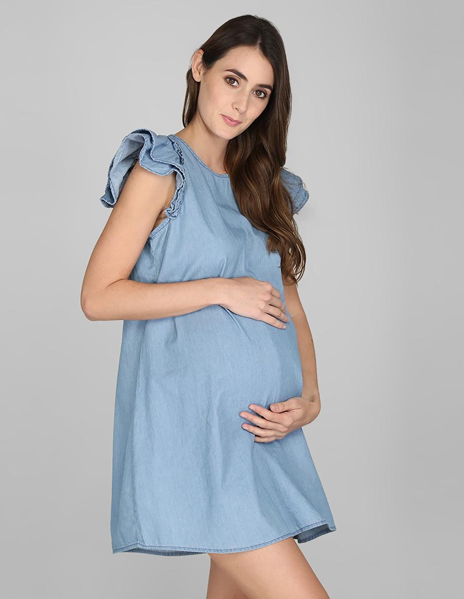 Vestido De Maternidad Casual One To Nine Azul Claro Denim
